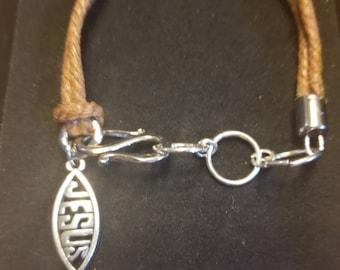 Chain Link Coated Cotton Rope Jesus Bracelet