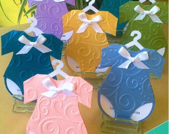 Invitations romper for Baby Shower PKT/10 various colors