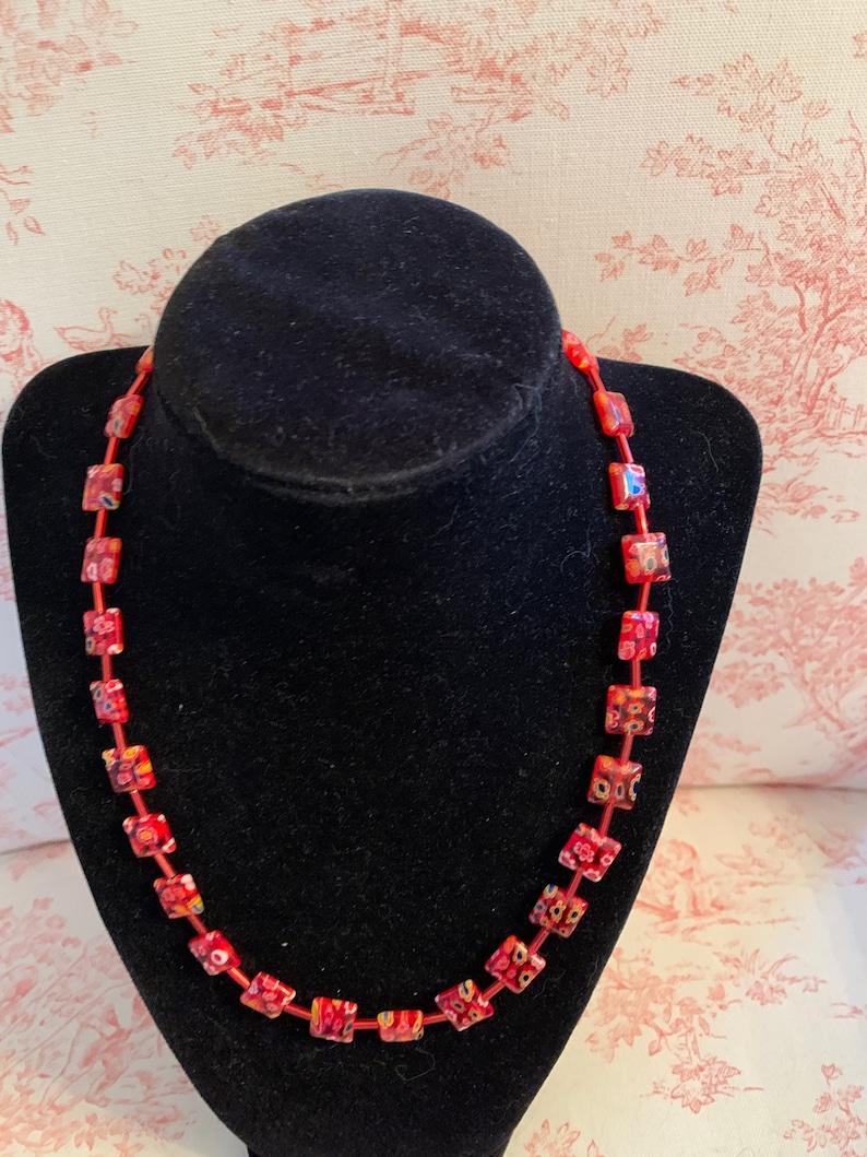 Red millefori necklace