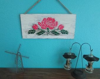 "Rustic Wooden 3-D Paint Wall Art-  Unique ""Pink Rose"""