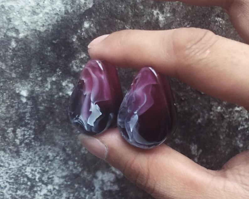 Blackclear-pink-Teardrop handmade plugstunnel