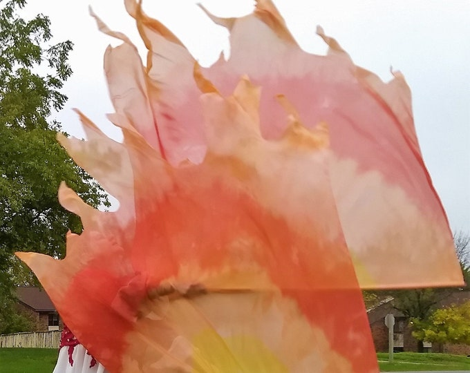 Worship Flags, Dance Flags, Praise Flags, Angel Wings, Swing Flags, Hand Dyed - Holy Fire