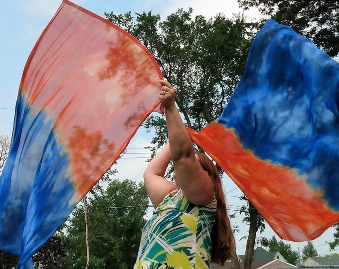 """Worship Flags, Set of two, Rectangular, Hand Dyed, Adult Size - """"Rise Up"""""""
