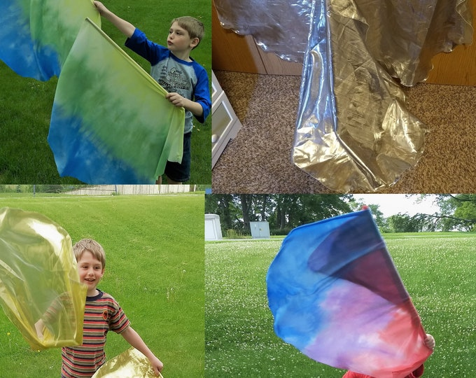 Child's Worship Flags, Praise Flags, Dance Flags - 4 Children's Flag Sets (8 flags), New Life, Joyful Noise, Glory Gold and Glory Silver