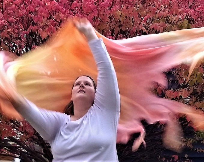 Worship Scarf, Dance Scarf, Praise Scarf, Fire Fringe, Hand Dyed - Heaven's Holy Fire