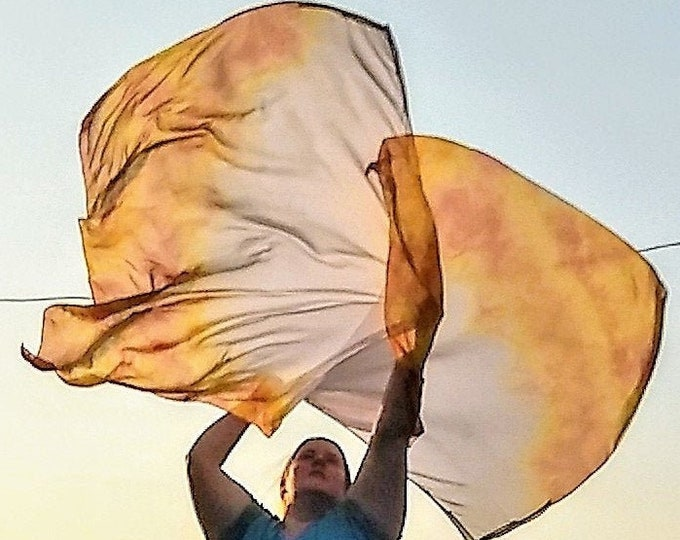 Worship Flags, Dance Flags, Praise Flags, Angel Wings, Swing Flags, Hand Dyed - Spirit's Fire