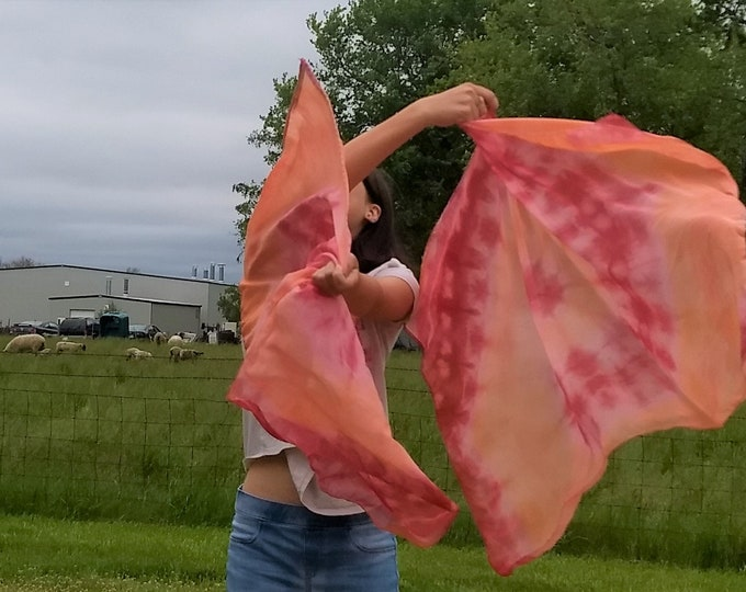 READY TO SHIP - Worship Flags, Dance Flags, Praise Flags, Angel Wings, Swing Flags, Hand Dyed - Alpha & Omega