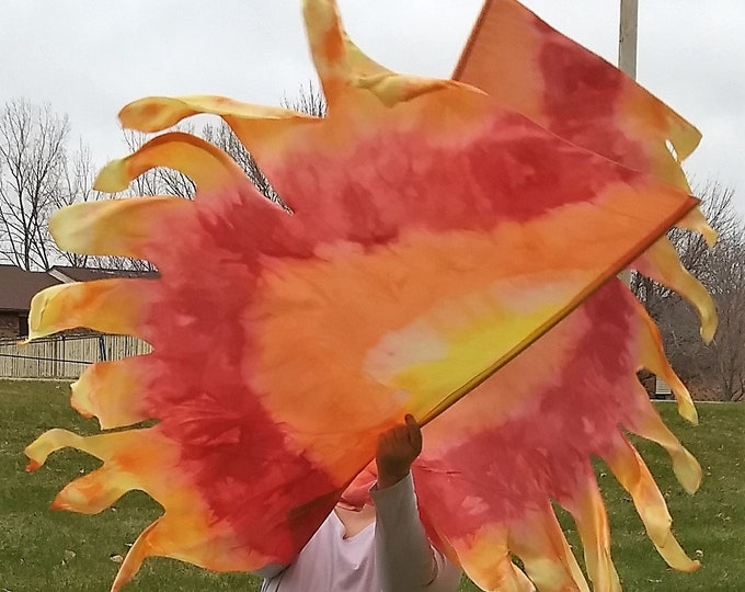 Worship Flags, Dance Flags, Praise Flags, Angel Wings, Hand Dyed - Refining Fire