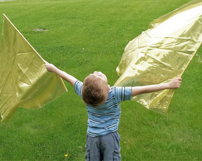 Child Worship Flags, Dance Flags, Praise Flags, Angel Wings - Glory Gold, Silver, Red, Blue, Pink, Aqua, Copper, Purple, Green, Turquoise