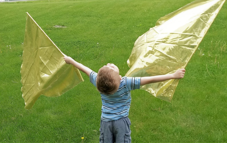 Child Worship Flags Dance Flags Praise Flags Angel Wings  Gold