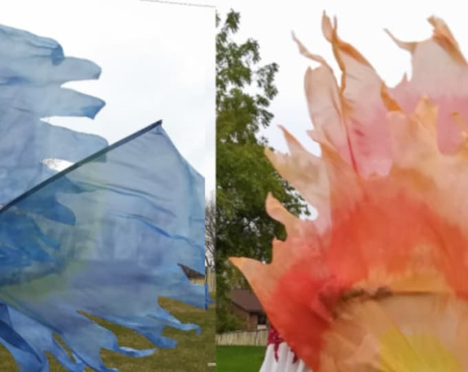 Worship Flags, Dance Flags, Praise Flags, Angel Wings, Swing Flags, Hand Dyed - Holy Water & Holy Fire Bundle