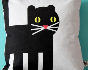 Cat and Fish and Chips Cushion.