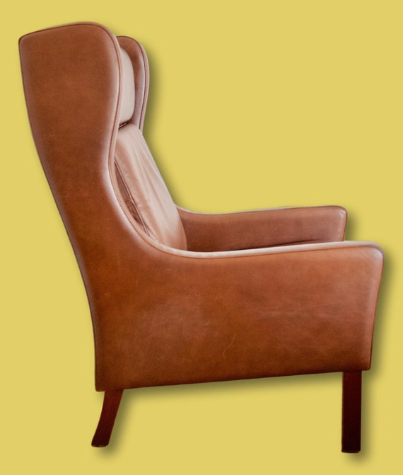Terrific Sold Danish Vintage Leather Wingback Chair Gmtry Best Dining Table And Chair Ideas Images Gmtryco