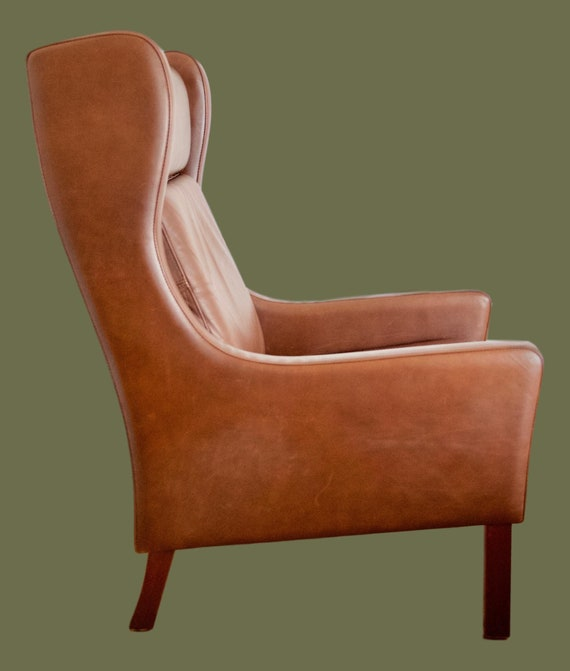 Strange Sold Danish Vintage Leather Wingback Chair Gmtry Best Dining Table And Chair Ideas Images Gmtryco