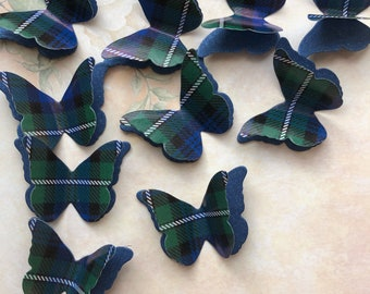 25 Forbes Clan Tartan & Shimmer Paper 3D Butterfly Wedding Confetti Table Decoration Toppers
