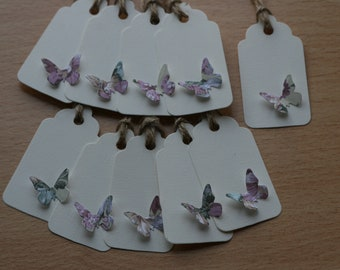 10 Luxury Hand Made Butterfly Gift Tags With Twine
