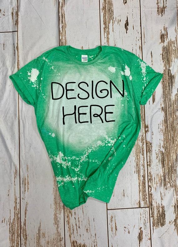 Heather Green Gildan Softstyle Bleached tshirt Mockup Patrick\u2019s Day tshirt Mockup St Bleached Gildan Mock up Green bleached tee