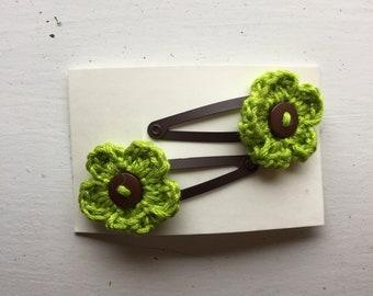 Handmade Crochet Flower Hair Clips