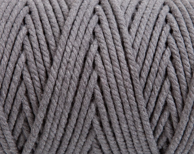 Slate Grey Soft Cotton Chunky Twine - 5 Metres
