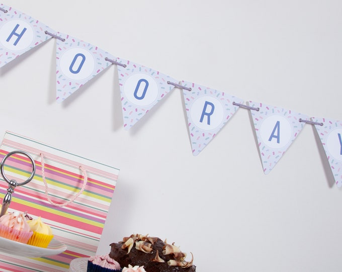 Pastel Confetti Customisable Bunting with 80 Alphabetical Reversible Flags and Wire Bulldog Clips for Memos and Photos - Alphabetti Confetti