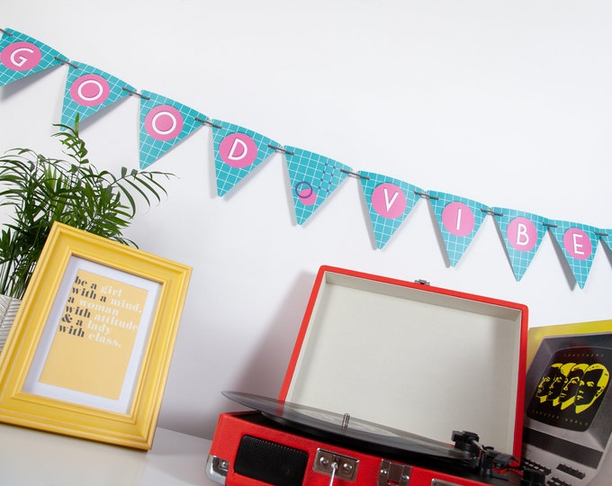 80s Turquoise and Pink Customisable Bunting with 80 Alphabetical Reversible Flags and Wire Bulldog Clips for Memos and Photos - Retro Ready
