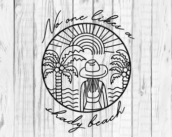 No one likes a shady beach Svg Dxf Png, summer, sunshine, tropical, palm tree, hand drawn, circle, files for: cricut, silhouette, sublimate