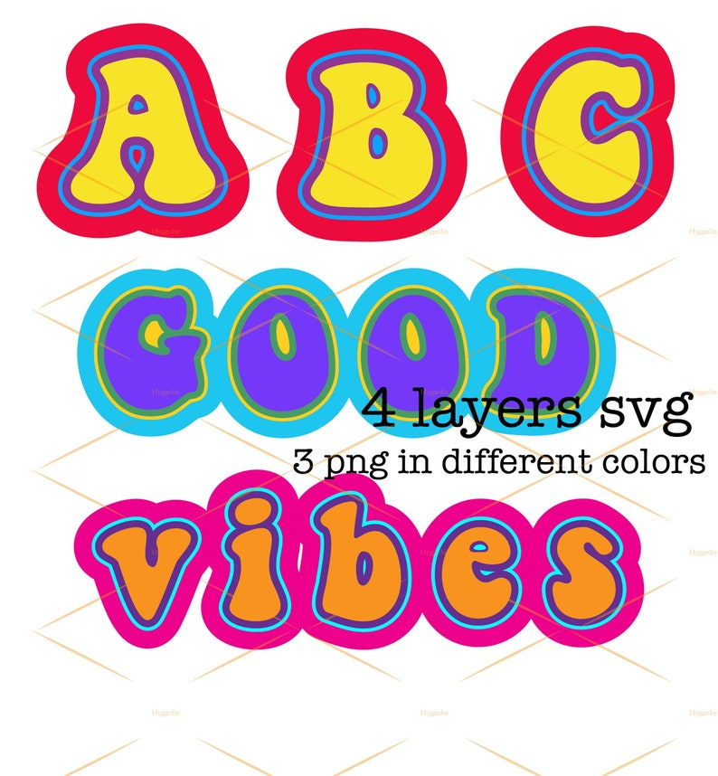 4 Layered Font SVG, Groovy Font PNG, Good Vibes, Retro Cut file