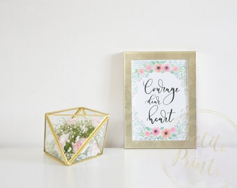 "Watercolor Giclee Print With Quote - ""Courage, Dear Heart"""