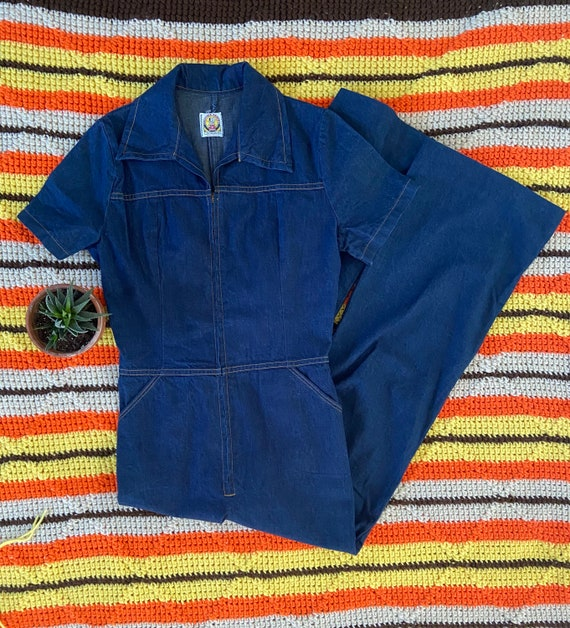 Vintage 70s Denim Flare Jumpsuit
