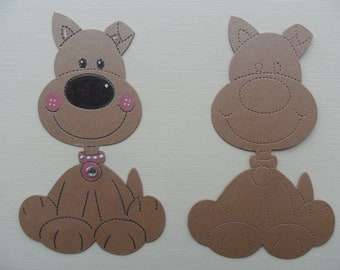 x10 brown sitting dogs card die cuts toppers