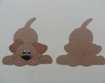 x10 brown laying down dogs card die cuts toppers