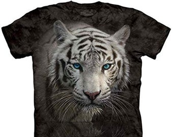 The Mountain 100% Cotton Adult s T-Shirt - White Tiger Reflection (XL). 4ddfdf1f2008