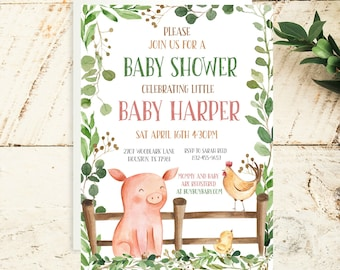 Baby Shower Invitation-Farm Animal Invitation-Pig Invitation-Gender Neutral Baby Shower Invitation