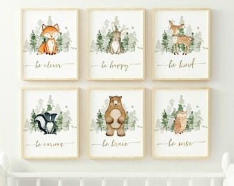 Boy Woodland Nursery Prints, Woodland Nursery Decor, Boy Wall Art, Boy Nursery Prints, Woodland Animal Prints, INSTANT DOWNLOAD