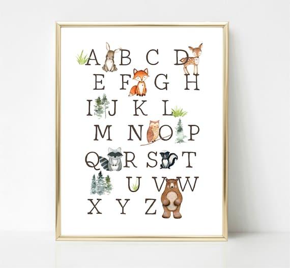 Alphabet Print Woodland Nursery Print Woodland Nursery