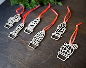 Set of Modern Cactus Christmas Ornaments, 12 Ornaments w/ Gift Box, Wooden and Laser Cut