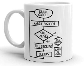 Bigfoot Coffee Mug - Drink Coffee and Rassle Bigfoot - Funny Sasquatch Bigfoot Coffee Cup Mug