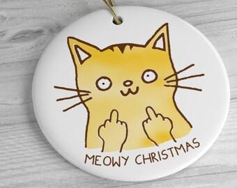 Meowy Christmas Middle Finger Cat Christmas Ornament / Funny Orange Tabby Flipping Bird