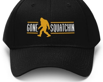 31586713abf Gone Squatchin Embroidered Bigfoot Hunter Cap   Sasquatch Dad Hat Baseball  Cap Ball Cap Black Navy Blue Forest Green