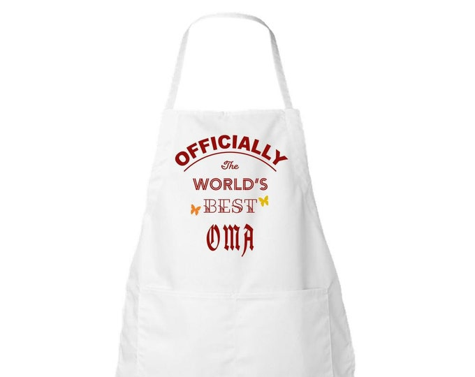 Apron, White, The WORLD'S BEST OMA, Gift for Her, Women, Mom, Best Friend,