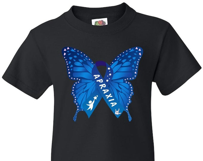 Apraxia Awareness Youth Blue Butterfly Love ASL T-Shirt, apraxia of speech, childhood apraxia, Apraxia Mom Dad, nonverbal speech,