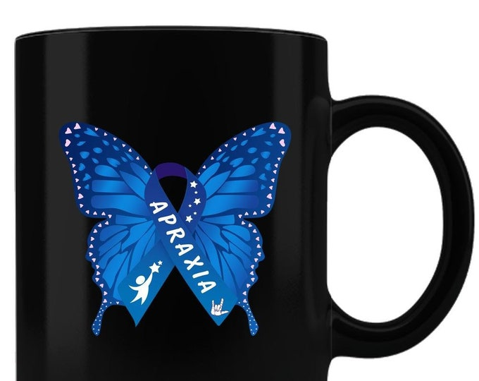 Apraxia Awareness Black Coffee Mug, apraxia of speech, childhood apraxia, nonverbal speech, apraxia warrior, special needs,