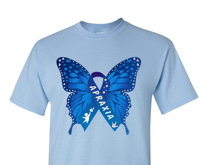 Apraxia Awareness Adult Blue Butterfly T-Shirt, apraxia of speech, childhood apraxia, Apraxia Mom Dad, nonverbal speech,