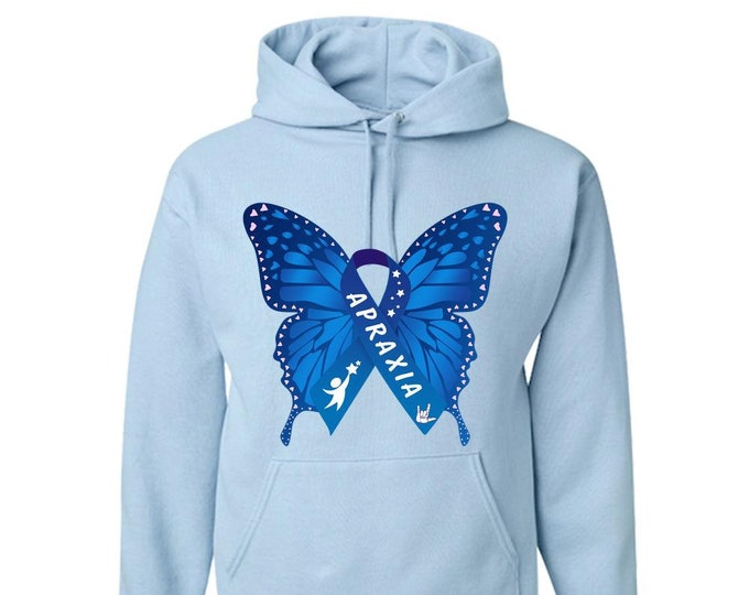Apraxia Awareness Youth Blue Butterfly ASL Love Hoodie, apraxia of speech, childhood apraxia, Apraxia Mom Dad, nonverbal speech,