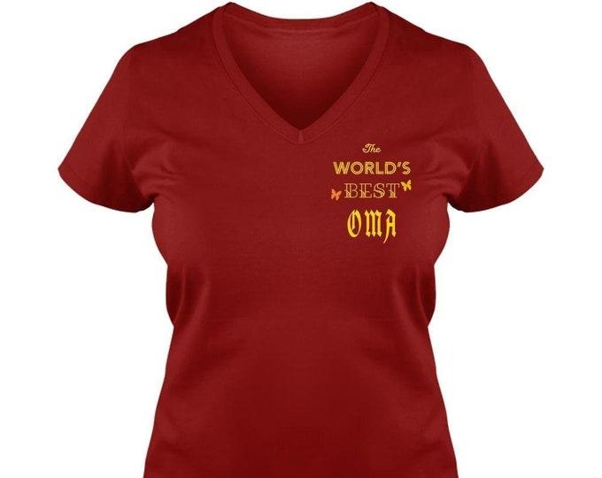Ladies V-Neck Tee, Custom OMA Gifts, Gift for Her, Women, Mom, Heart,
