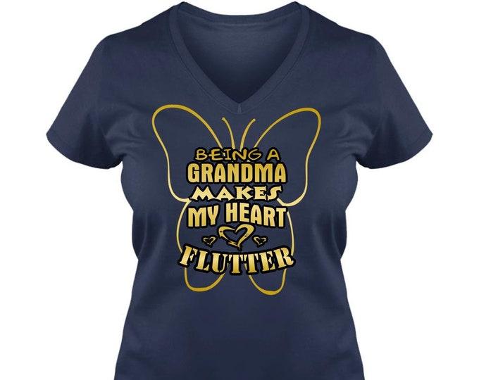 Grandma TShirt, Ladies V-Neck T-Shirt, Gift for Grandma, Her Best Friend, Being a Grandma Makes My Heart Flutter,