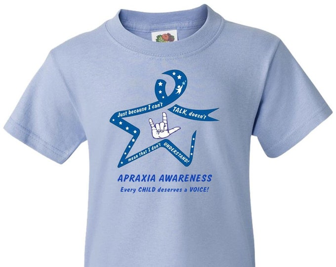 Apraxia Awareness, Youth TShirt, Just Because I Can't Talk Doesn't Mean I Don't Understand, nonverbal,