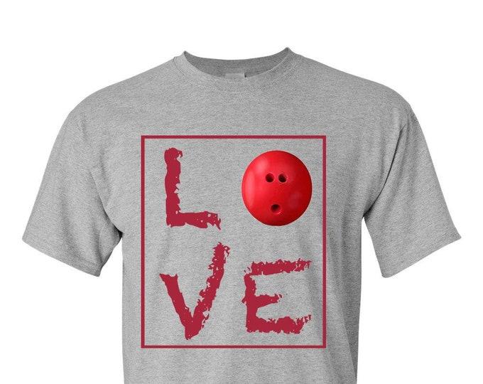 Bowling TShirt, LOVE, t-shirt t shirt tee, Adult Unisex T-Shirt