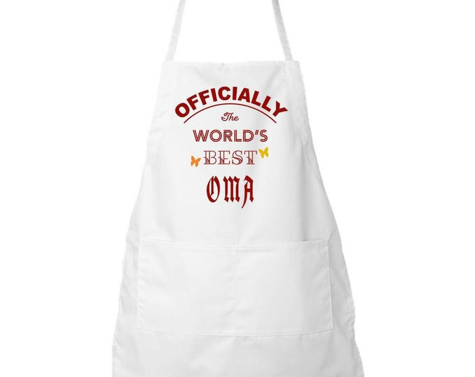 Apron, Kitchen Apron, White apron, custom apron, personalized apron, OFFICIALLY, The World's Best OMA Apron,
