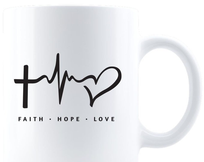 Coffee Mug, Personalized Mug, Custom Coffee Mug, Ceramic Mug, Black Coffee mug, Faith mug, Hope mug, Love mug,